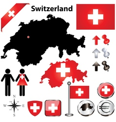 Switzerland map small vector image vector image