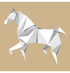 White paper horse origami vector image vector image