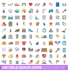 100 child health icons set cartoon style vector