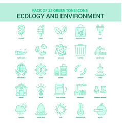 25 green ecology and enviroment icon set vector
