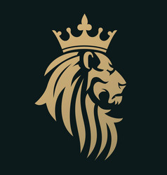 A golden lion with a crown vector