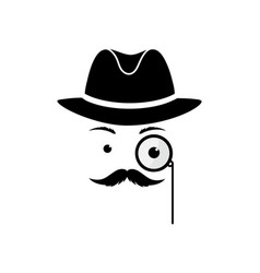 A mustache man in a hat and with a monocle secret vector