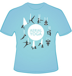 Aerial yoga t-shirt design with woman silhouettes vector