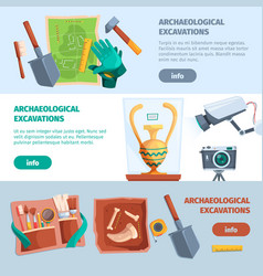 Archaeological banners ancient tools for history vector