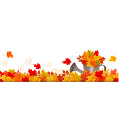 autumn nature panorama with colorful leaves and vector image