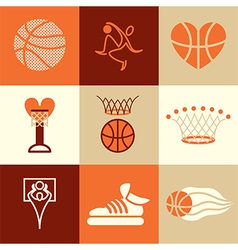 Basketball logo icons vector