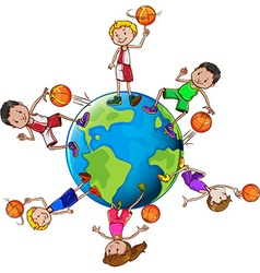 Basketball players with ball around the world vector image
