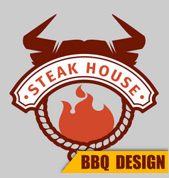 Bbq cow badge image vector