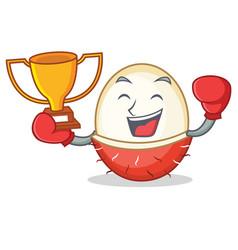 Boxing winner rambutan mascot cartoon style vector