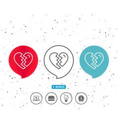 Break up love line icon divorce sign vector