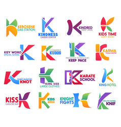 Business icons letter k corporate identity vector