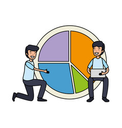 Businessmen with statistics infographic pie vector