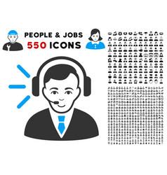 call center operator icon with bonus vector image
