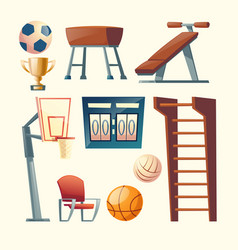 Cartoon set of gym equipment for school vector