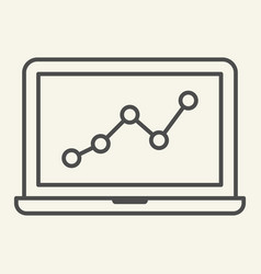 chart on laptop thin line icon graph on notebook vector image
