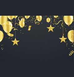 christmas luxury black background with golden vector image
