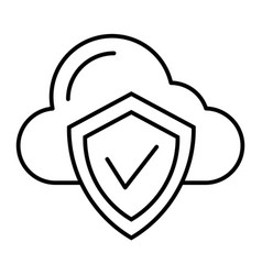 cloud protection thin line icon cloud with shield vector image