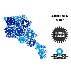 Collage armenia map of gears vector