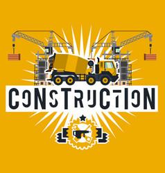 Construction site crane lifting concrete slabs vector