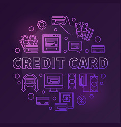 credit card colored round outline vector image