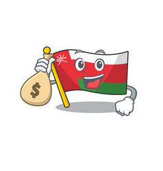 Cute flag oman character smiley with money bag vector