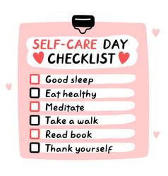 Cute funny self-care day checklist to do list vector