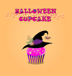 cute happy halloween cupcake with rose cream vector image