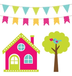 Cute house and tree set vector