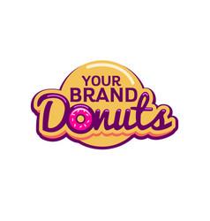 donuts shop lettering logo vector image