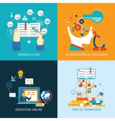 Education icons in flat style vector