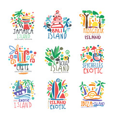 exotic islands summer vacation colorful logo set vector image