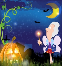 Fairy Godmother and pumpkin vector