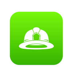 fireman helmet icon digital green vector image