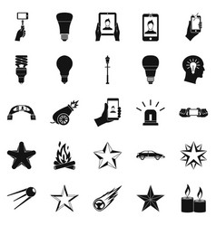 flicker icons set simple style vector image