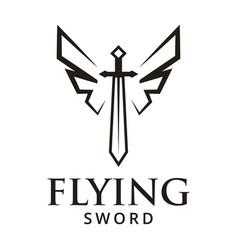 flying sword logo design inspiration vector image