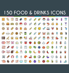 food and drinks flat line icons vector image