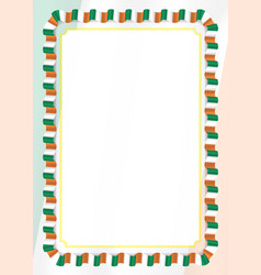 Frame and border of ribbon with ireland flag vector