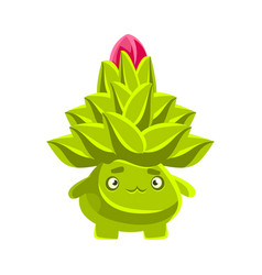 Funny sad succulent emoji cartoon emotions vector