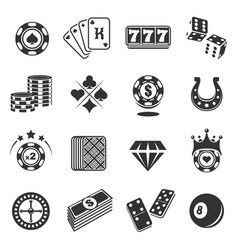 Gambling black icons set isolated from background vector