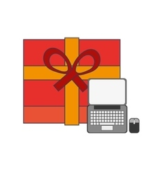 giftbox and computer icon vector image