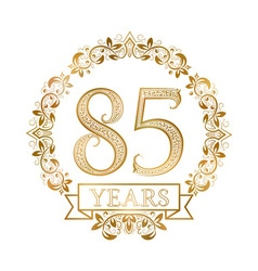 Golden emblem of eighty fifth years anniversary in vector image