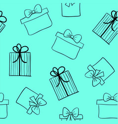 hand drawn gift boxes seamless pattern vector image