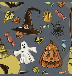 happy halloween hand drawn pattern vector image