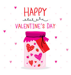 happy valentine day heart cartoon vector image