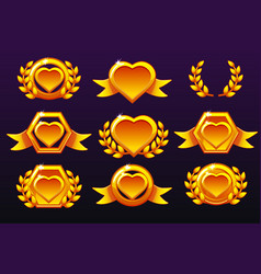 hearts set gold templates for awards creating vector image