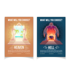 Heaven and hell brochures cartoon template vector