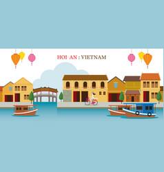 Hoi an vietnam landmarks skyline vector