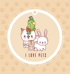 i love pets card with pets cartoon vector image
