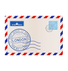 International mail envelope with london stamp vector
