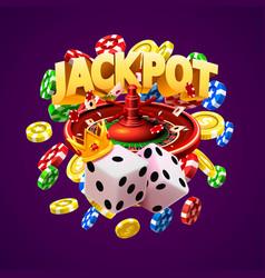 Jackpot casino big win collage banner vector